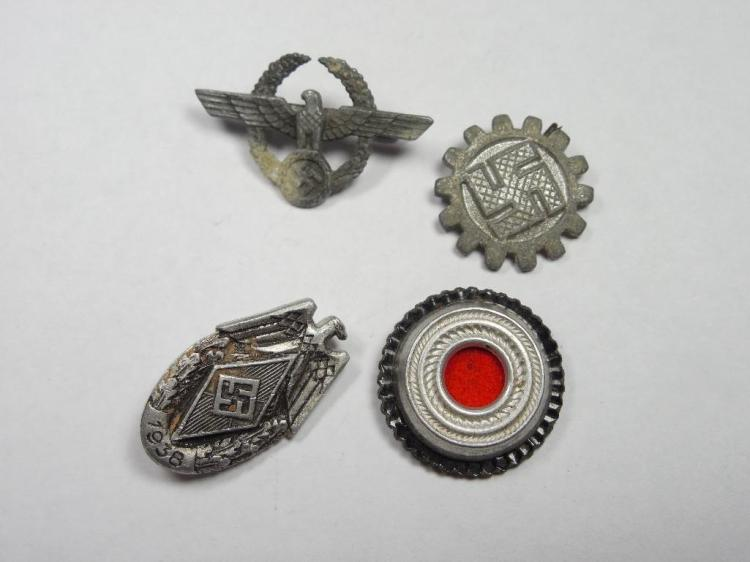 Group Lot of Nazi German Pins, Roundel, Hat Items
