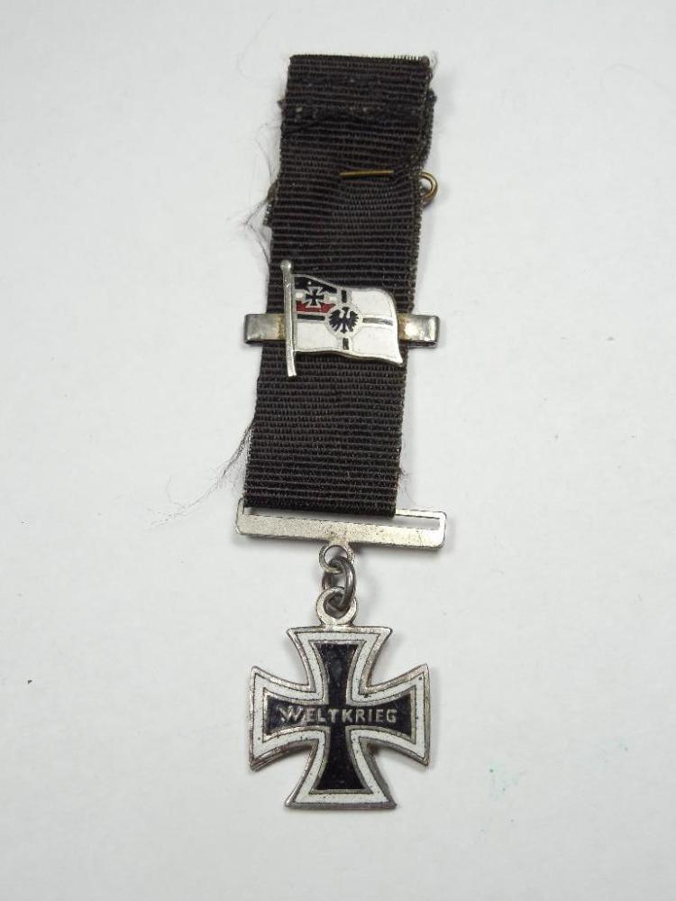 Rare WWI Era Kriegsmarine Weltkrieg Pin, Ribbon