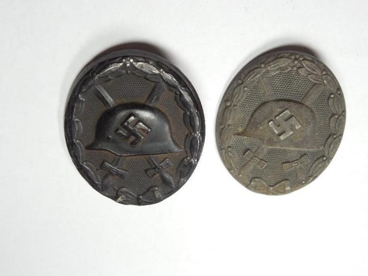 2 Nazi German WWI Black Metal Wound Badges