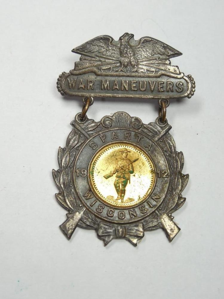 Rare Sparta Wisconsin War Maneuvers 1912 Badge