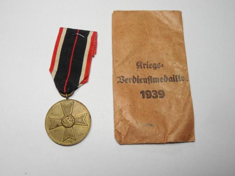 Nazi German War Merit Cross on Ribbon W/Paper