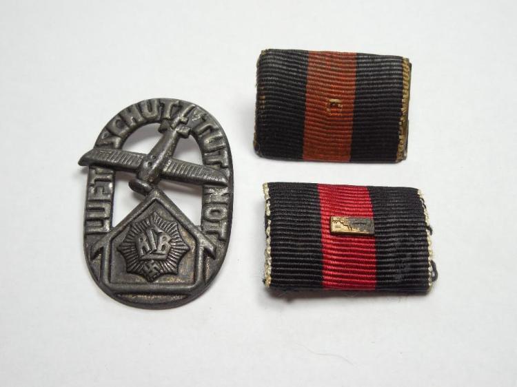 2 Nazi German Ribbons PLUS Air Defense Tinnie