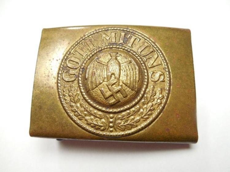 Unusual Pattern Brass Nazi German Belt Buckle