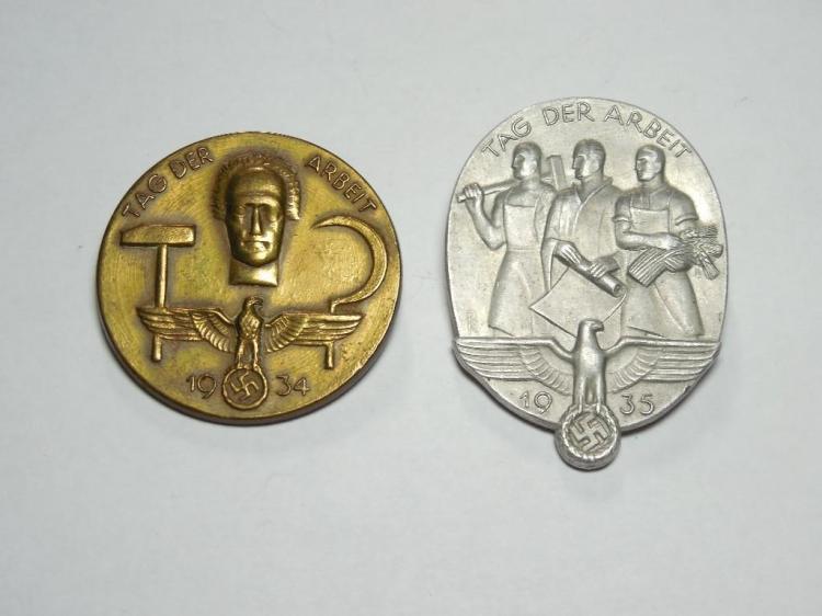 2 Nazi German Labor Service Tinnie Pins