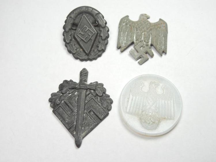 Group Lot of 4 Nazi German Tinnies and Pins