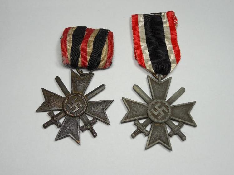 2 Nazi German War Merit Crosses on Ribbons Medals