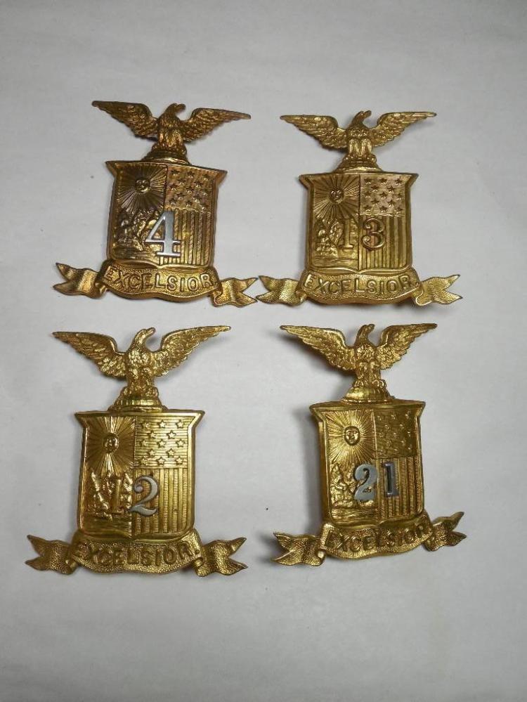Group Lot of 4 1800s New York Militia Hat Badges