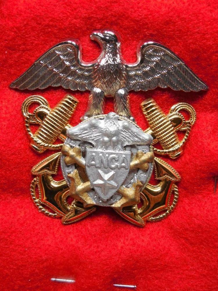 Vintage Military Badge ANCA w/Eagle Anchors