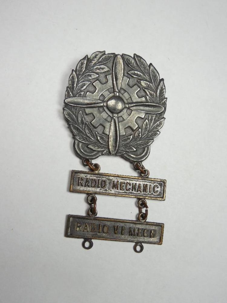 Sterling Silver WWII Aircraft Badge Radio Mechanic