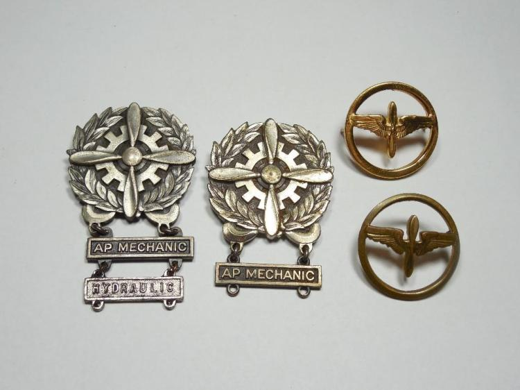 Group Lot 2 WWI Sterling Air Mechanic Medals etc