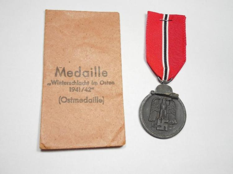 WWII Nazi German Russian Front Medal w/Paper