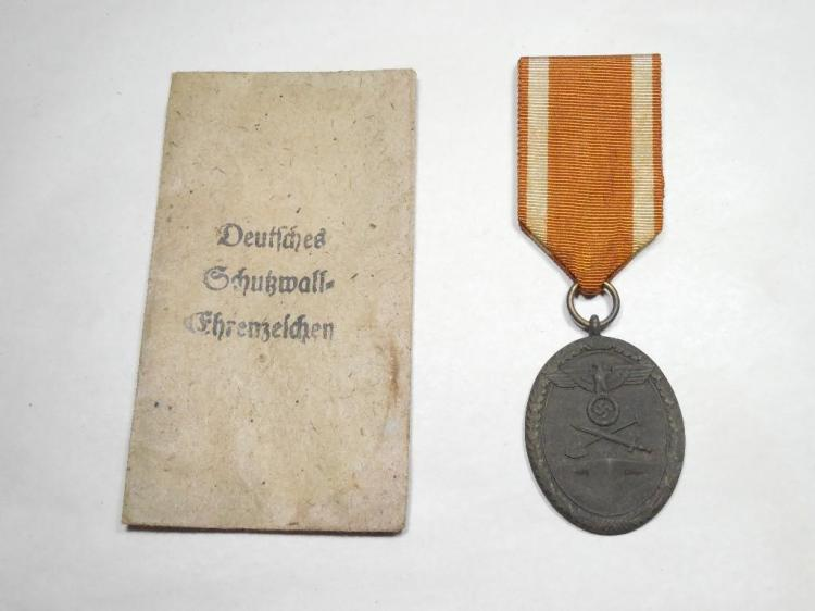 Nazi German Western Wall Medal on Ribbon w/Paper