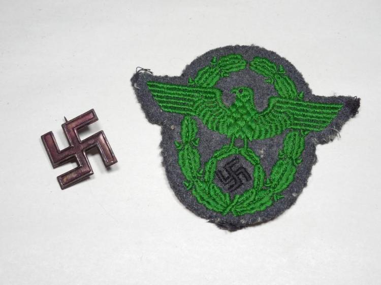 Nazi German Police Shoulder Patch PLUS Part Pin