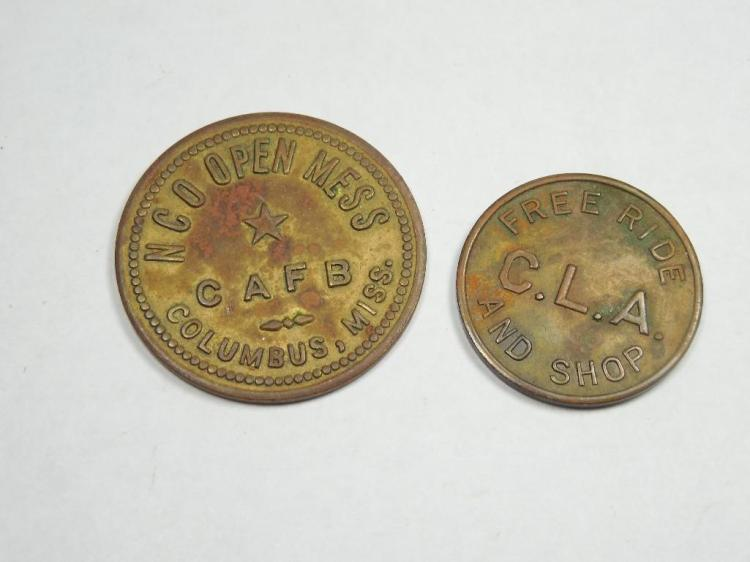2 Tokens Inc. NCO Open Mess Military Base - Miss.