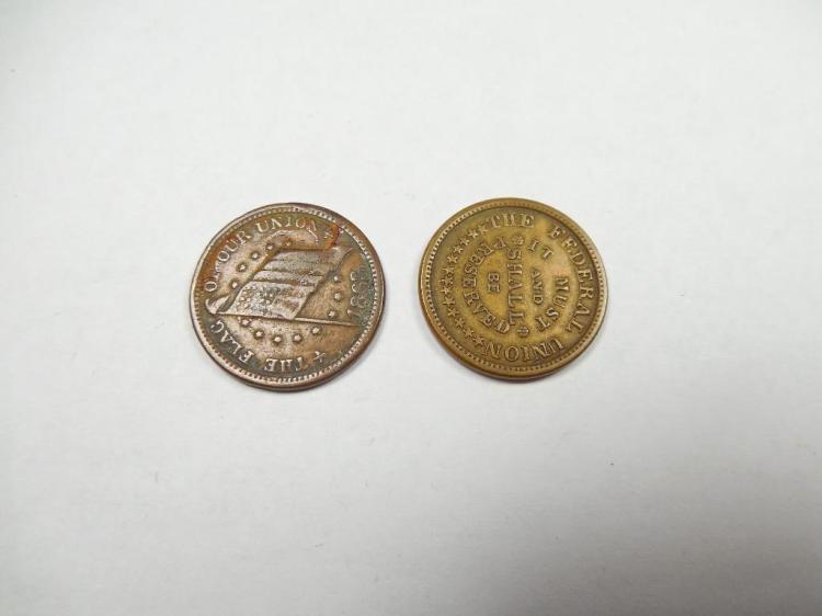 2 Nice Civil War Patriotic Trade Tokens