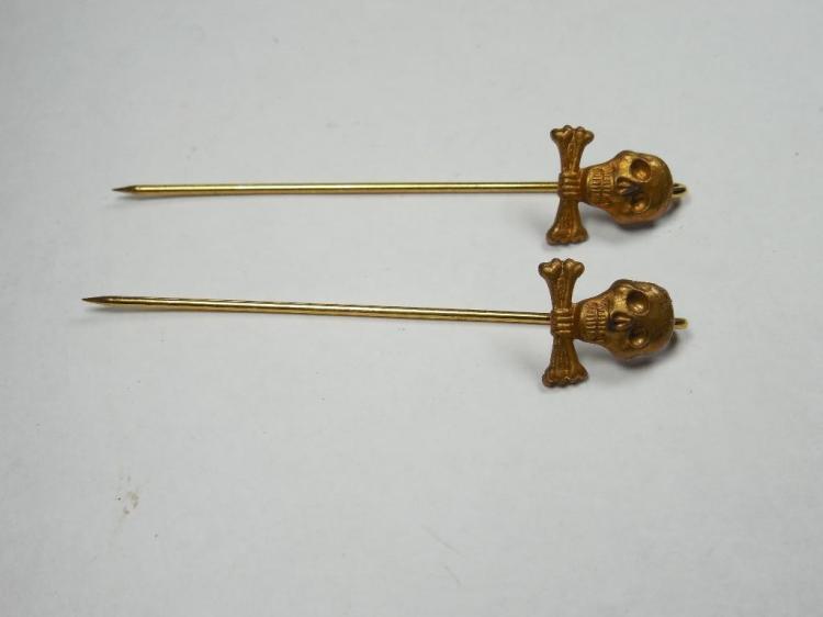 2 Nazi German Skull Crossbones Totenkopf Pins