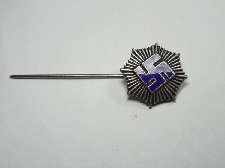 Unusual Nazi German Blue Swastika in Star Pin