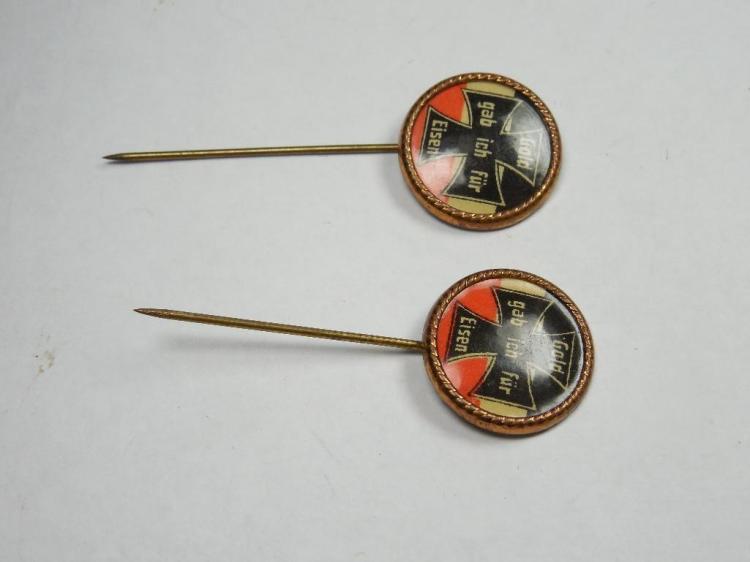 "2 Rare ""I Gave for Iron"" German Patriotic Pins"