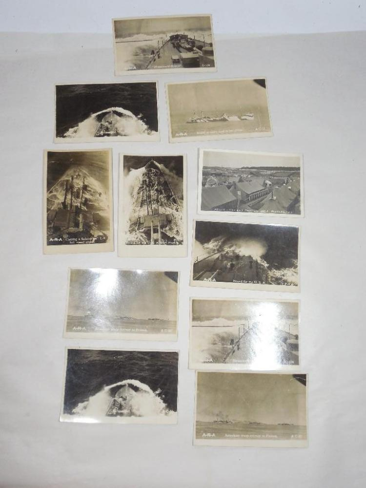 Group Lot of 11 WWI Real Photo Postcards Navy Ships