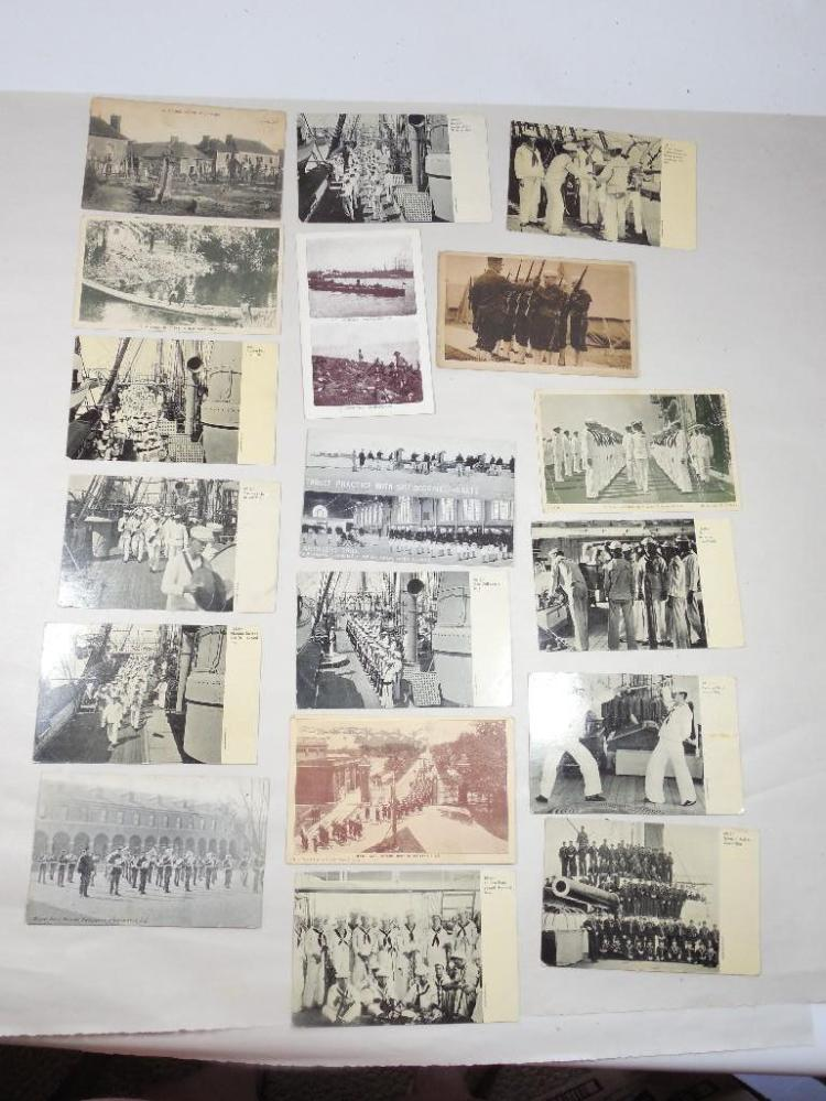 Group Lot of Early Military Postcards Mostly Navy