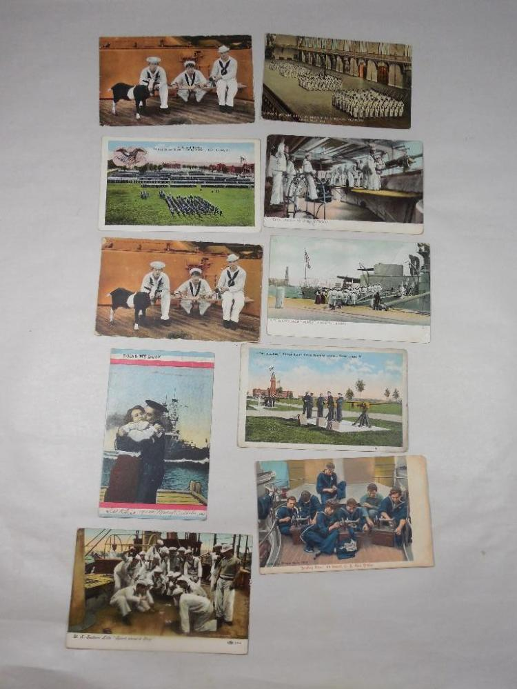Group Lot of 10 Early Navy Military Postcards