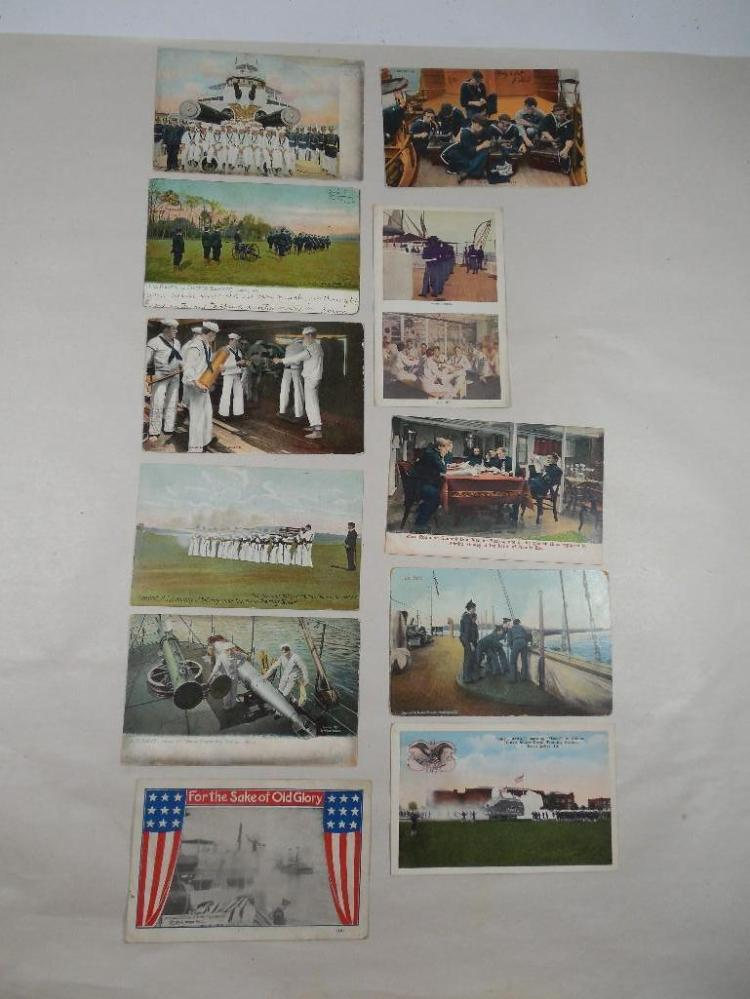 Group of 11 Early 1900s Navy Postcards Military