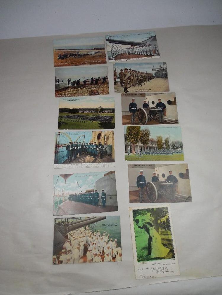 12 Early Military Postcards Inc. Gatling Gun