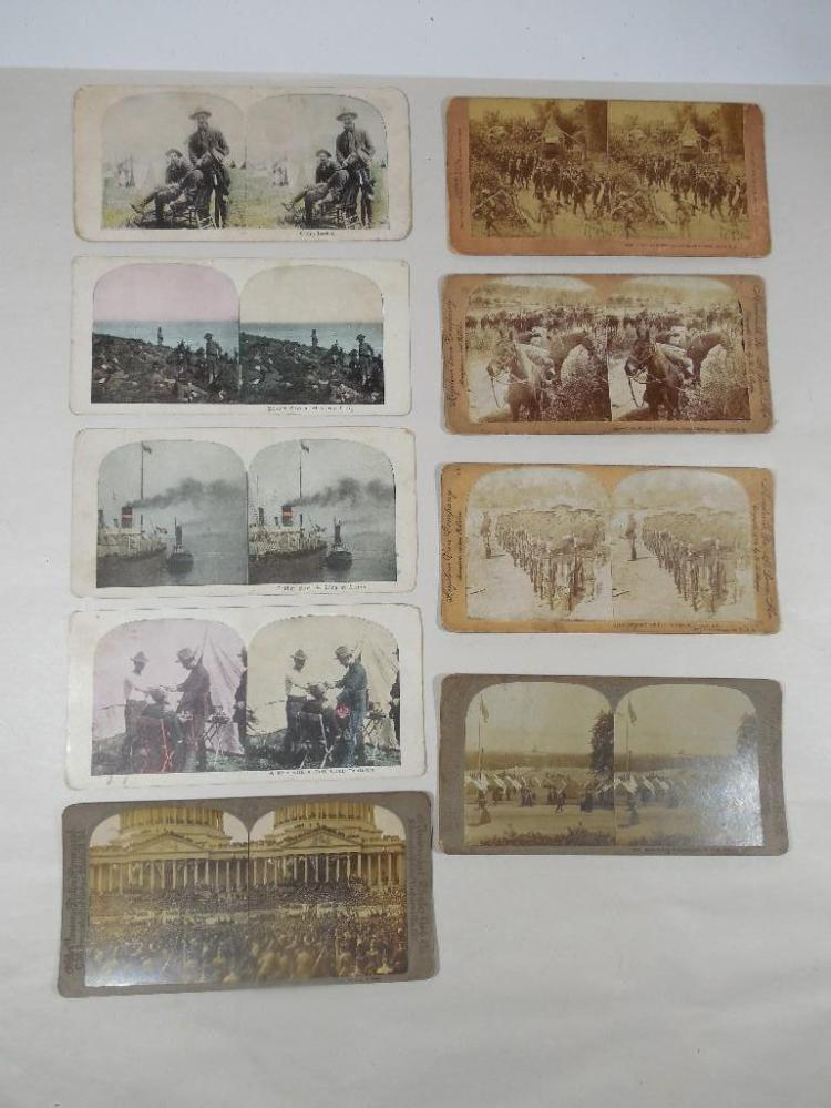 9 Early Military Stereoview Card Photos