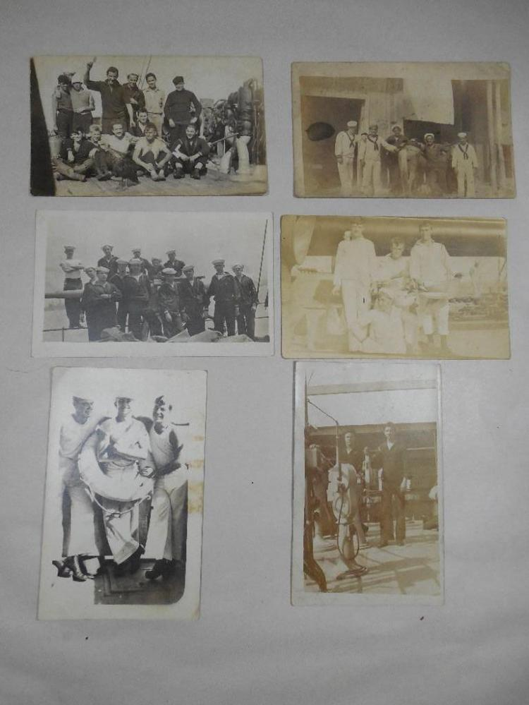 Group Lot of 6 WWI Real Photo Postcards Navy