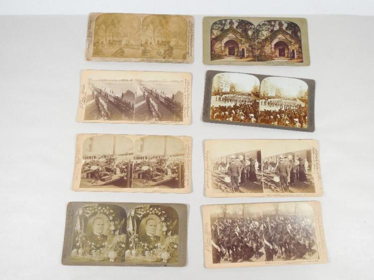 Group Lot of 8 Military, Political Stereoview Cards