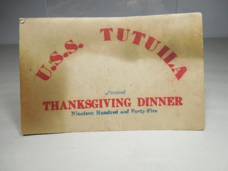 Unusual USS Tutuila WWI Dinner Menu