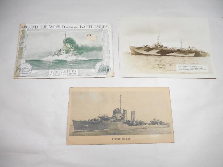 Group of 3 WWI Ship Postcards etc Inc. WWI