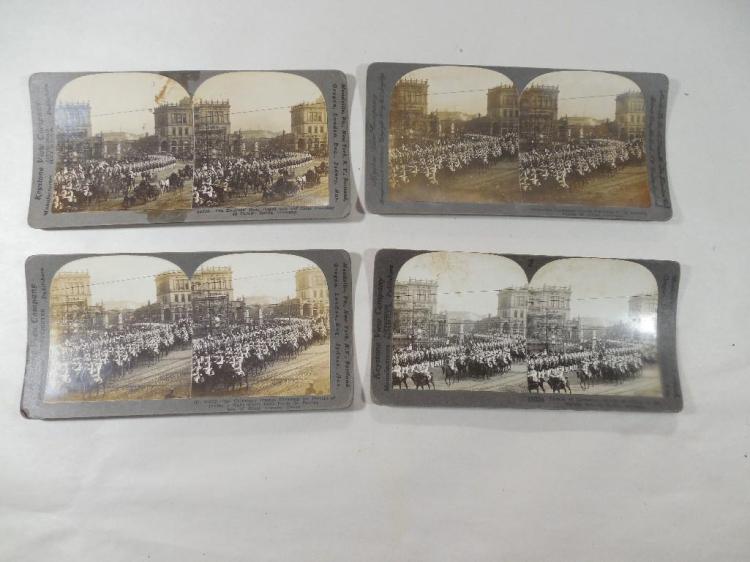 Four Rare Stereoview Card Photos German Military