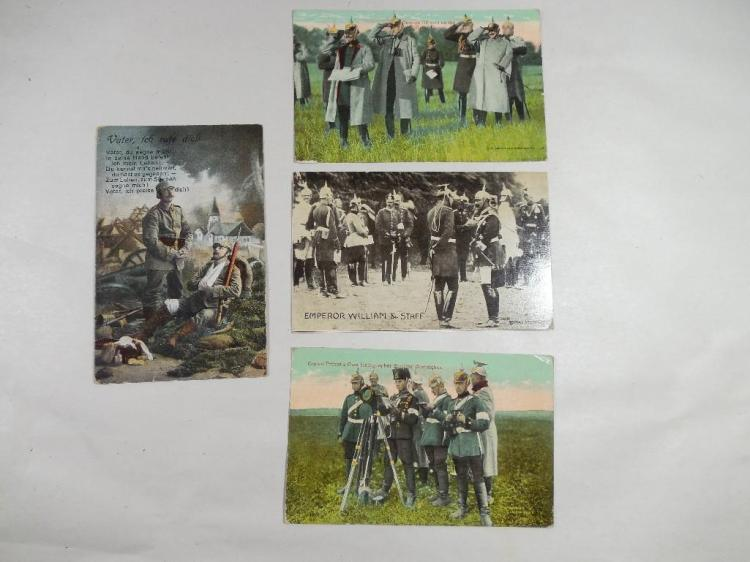 4 Rare German WWI Military Postcards w/Soldiers