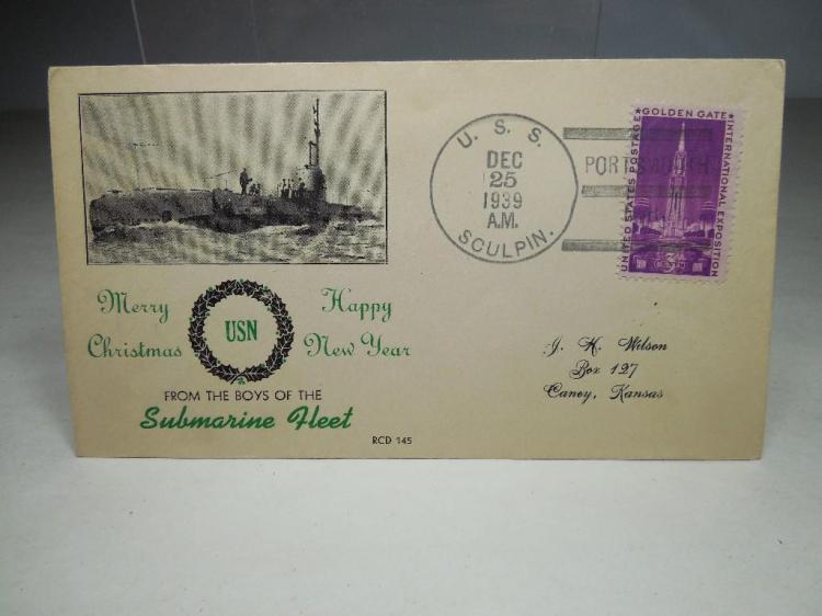 Rare 1939 US Submarine Fleet Postcard