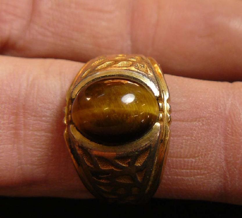 Lot Vintage 10k Gold Plate Men S Ring W Cat S Eye Stone