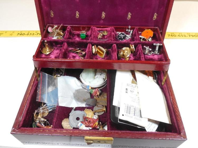 Vintage Jewelry box w/Coins, jewelry Contents