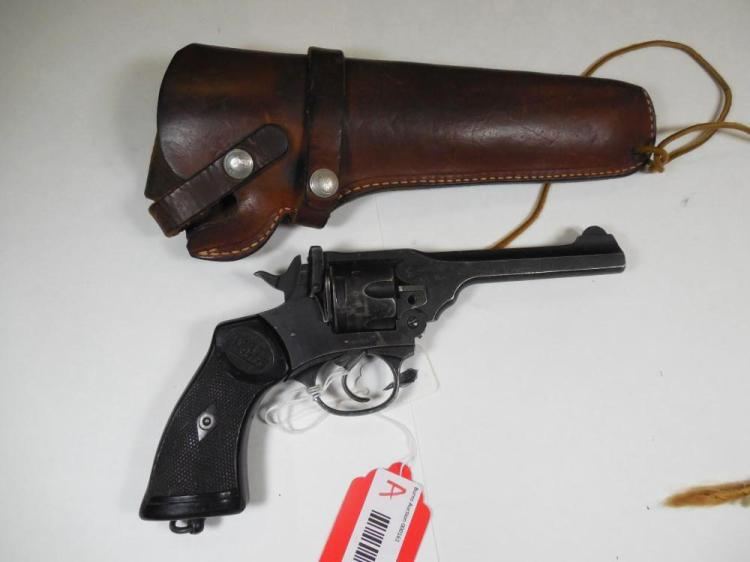 WWII Webley 38 Cal Revolver in War Finish w/Holster