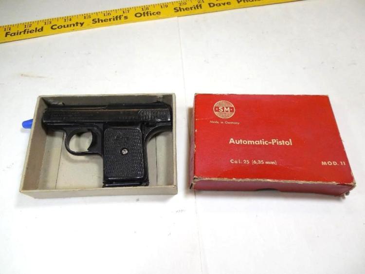 Old German 25 Cal Semi Auto Pistol in box