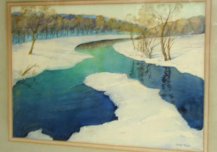 Hugh Tyler Watercolor Shore Scene