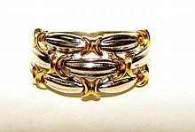 18K Yellow Gold and Platinum Ladies Ring.