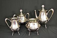 Egyptian Revival Plated Tea Service. Late 19th C.