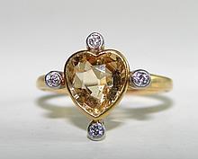 Ladies 18K White Gold, Heart Golden Topaz Ring.