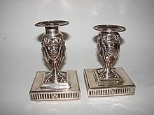 Pair (2) English Sterling Silver Candle Holders.