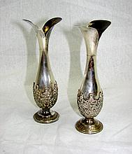 Pair (2) Continental Silver Bud Vases.