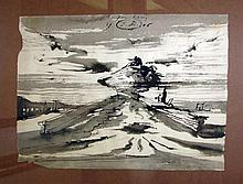 Landscape Drawing by Eugene Berman, 1946.