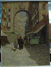 Oil on Board, Naples Street Scene, H. Darnaut