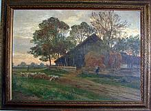Oil on Board, Rural Scene, Hugo Darnaut