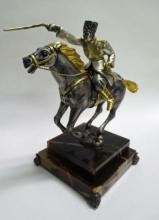 Pewter Cossack on Horseback Signed  - Vasant