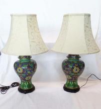 Pair (2) Vase Form Cloisonne Table Lamps